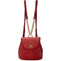 Gucci Red Mini Gg Marmont 2.0 Backpack