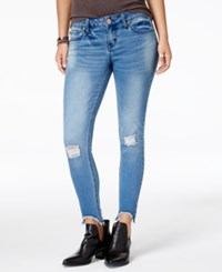 Rampage Juniors' Ripped Skinny Ankle Jeans Dairy