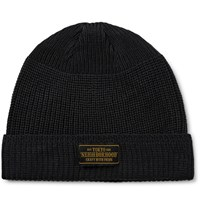 Neighborhood Ribbed Knit Beanie Black