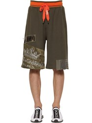 Dolce And Gabbana Jersey Shorts W Logo Crown Patch Military Green