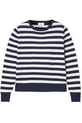 Allude Striped Knitted Sweater Midnight Blue