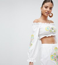 Prettylittlething Floral Embroidered Bardot Top White