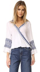 Piper Bell Sleeve Embroidered Top White