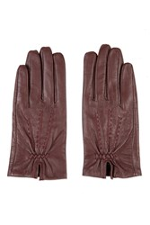 Topshop Core Stitch Leather Gloves Burgundy