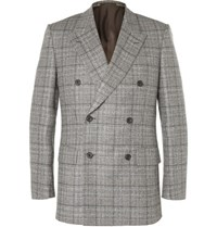 Kingsman Grey Slim Fit Double Breasted Checked Wool Suit Jacket Gray