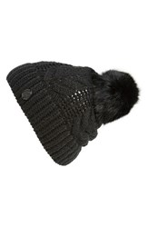 Women's Vince Camuto Cable Knit Beanie With Genuine Rabbit Fur Pompom Black Caviar