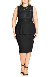 City Chic Plus Size Women's Bondage Lace Peplum Sheath Dress