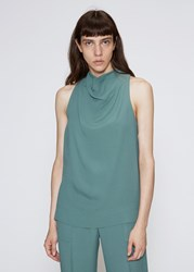 Nomia 'S Cowl Halter Tank Top In Viridian Size 2 Acetate Viscose