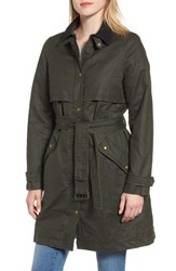 Joules Waxed Trench Coat Everglad