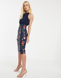 Ted Baker Shimma Bodycon Dress In Hedgerow Print Navy
