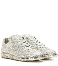 Maison Martin Margiela Glittered Leather Sneakers Silver