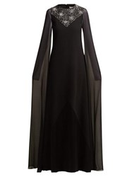 Givenchy Crystal Embellished Wool And Silk Chiffon Gown Black