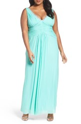 Marina Plus Size Women's Beaded V Neck Pleat Mesh Gown Mint