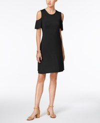 Style And Co Cold Shoulder Flutter Sleeve Dress Only At Macy's Deep Black