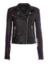 Guess Faye Faux Leather Biker Jacket Black