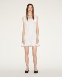 The Sleep Shirt Flounce Tunic White Sheer Stripe