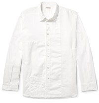 Kapital Distressed Patchwork Cotton And Linen Shirt White