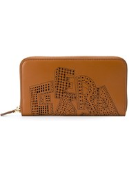 Salvatore Ferragamo Laser Cut Logo Wallet Brown