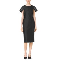 Michael Kors Pearl Embroidered Silk And Wool Shantung Sheath Dress Black