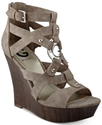 G By Guess Dodge Platform Wedge Sandals Women's Shoes Taupe