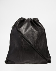 Asos Drawstring Backpack In Black Faux Leather With Crocodile Effect