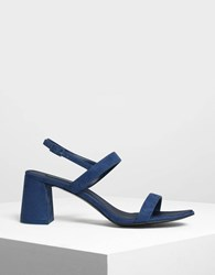Charles And Keith Flare Block Heel Sandals Blue