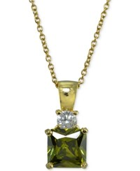 Giani Bernini Cubic Zirconia Square Pendant Necklace In 18K Gold Plated Sterling Silver Created For Macy's