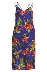 Lush Strappy Floral Print Midi Dress Cobalt Blue Red