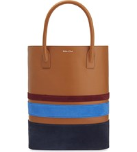 Mother Of Pearl Pently Leather Shopper Bag Tan Stripe