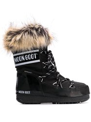 Moon Boot Fur Trimmed Snow Boots Black