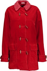 Tomas Maier Faux Shearling Lined Cotton Corduroy Coat Red