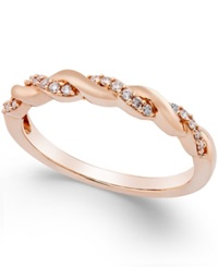 Macy's Diamond Twisted Band 1 8 Ct. T.W. In 14K Rose Gold