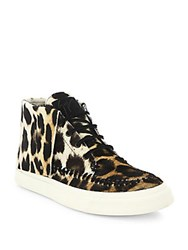 Giuseppe Zanotti Leopard Print Calf Hair High Top Sneakers Naturale