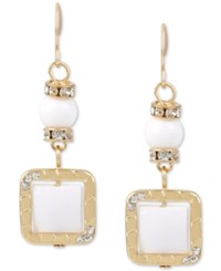 Inc International Concepts M. Haskell For Inc Gold Tone White Stone And Crystal Square Drop Earrings Only At Macy's