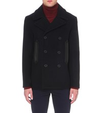 Sandro Double Breasted Wool Blend Peacoat Blue Green