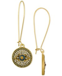 Rachel Roy Gold Tone Evil Eye Pave Disc Drop Earrings