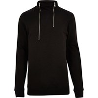 Only And Sons River Island Mens Black High Zip Neck Jumper