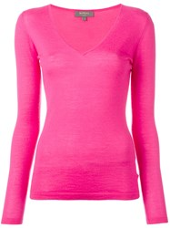 N.Peal Superfine V Neck Jumper Pink Purple