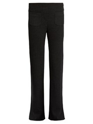 Helmut Lang Ribbed Knit Wool Blend Trousers Dark Grey