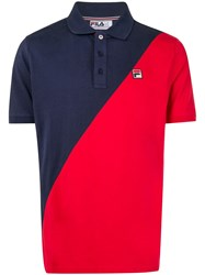 Fila Colour Block Polo Shirt Blue