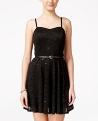 As U Wish Juniors' Sequin Lace Fit And Flare Party Dress With Belt Black