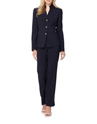 Tahari By Arthur S. Levine Petite Solid Two Piece Three Button Jacket Pant Suit Navy