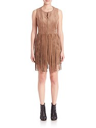 Bcbgmaxazria Hamin Suede Fringe Dress Light Mocha