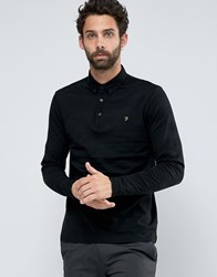Farah Polo With Long Sleeves In Textured Stripe Slim Fit Black Black
