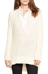 Petite Women's Lauren Ralph Lauren Cable V Neck Sweater Modern Cream