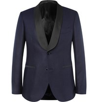 Mp Massimo Piombo Navy Slim Fit Faille Trimmed Silk Jacquard Blazer