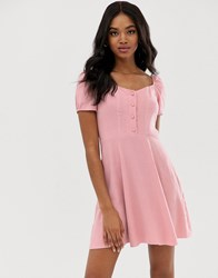 New Look Prairie Square Neck Dress In Powder Pink