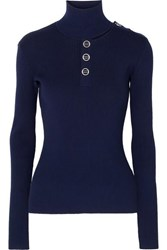 Dion Lee Cutout Ribbed Stretch Knit Turtleneck Sweater Navy