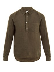 Solid And Striped Popover Half Button Linen Shirt Green