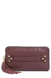 Milly 'Astor' Pebbled Leather Clutch Burgundy Bordeaux